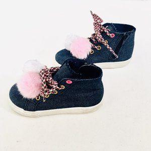 Brash Kids Jean Pom Pom High-Top Sneakers